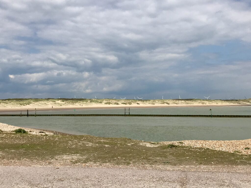 A view from Rye Harbour of the Sand Dunes in Camber Sands