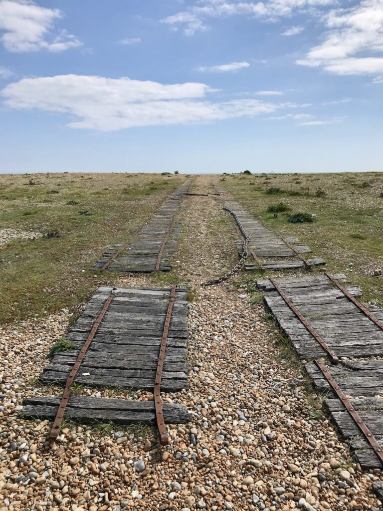 Old tracks on the shingle beach in Rye Harbour Nature Reserve