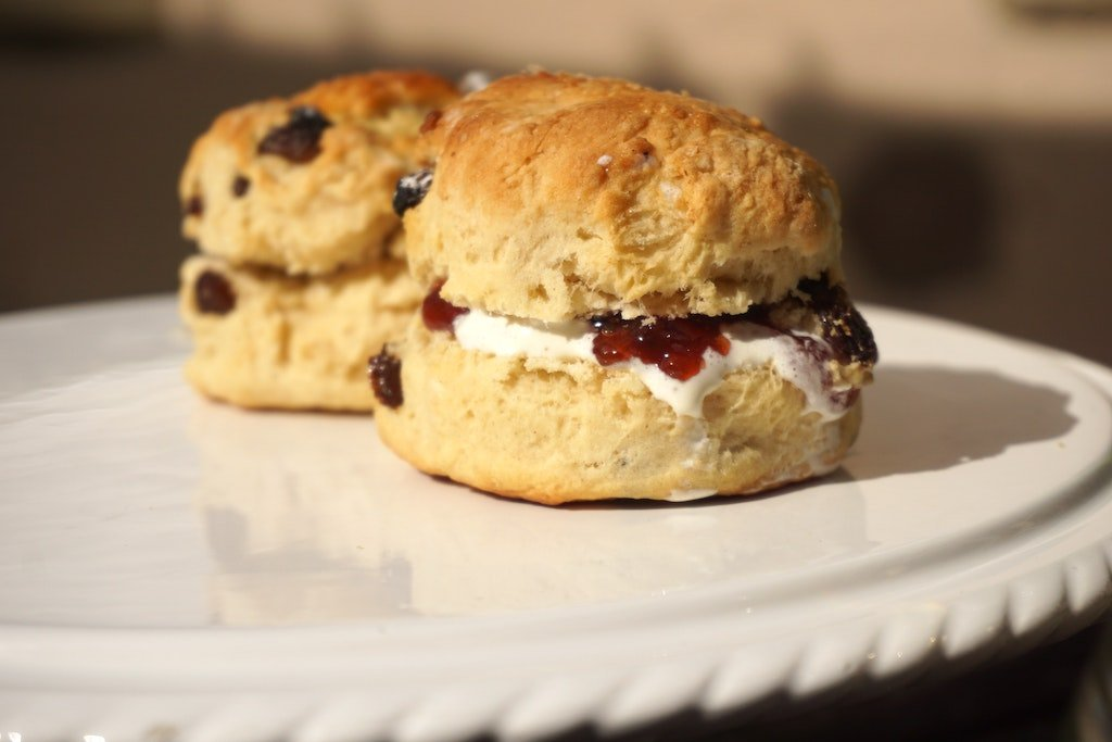 two jam and cream scones