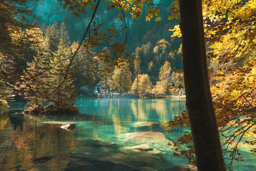 the blue waters of Lake Blausee are shadowed by the autumnal colours of the trees around the lake