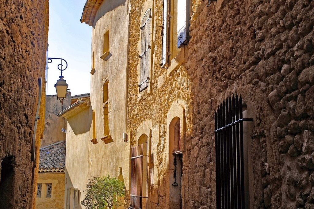 Yellow brick buildings in Fayence South of France
