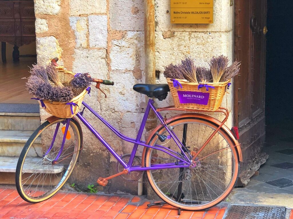 Purple Bicycle outside a perfume factory in Grasse South of France