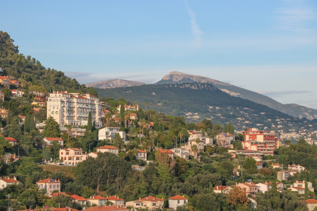View of houses on the mountainside in Grasse South of France