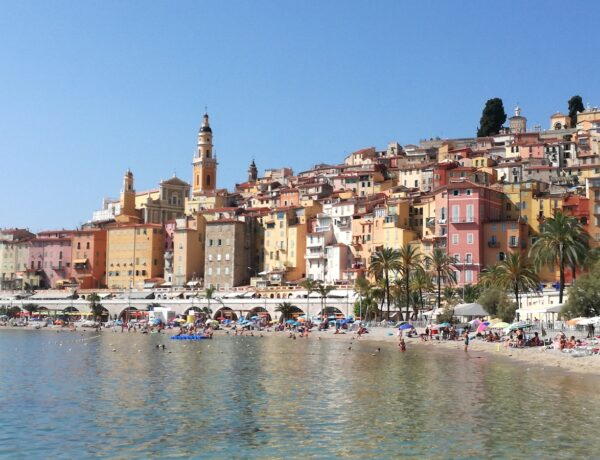 Pastel coloured buildings beside the sea in Menton South of France
