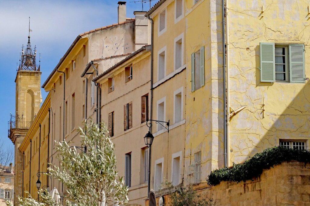 Pastel coloured buildings I Aux-en-Provence south of France