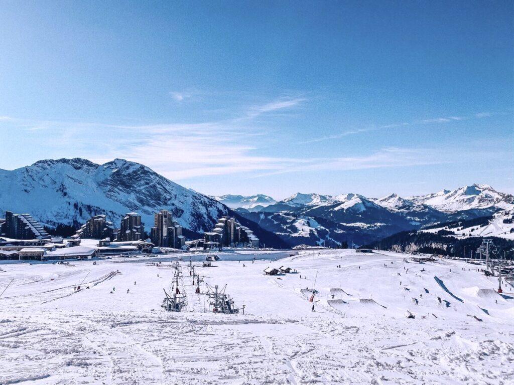 view of the ski slopes and chair lift in Avoriaz ski resort in France