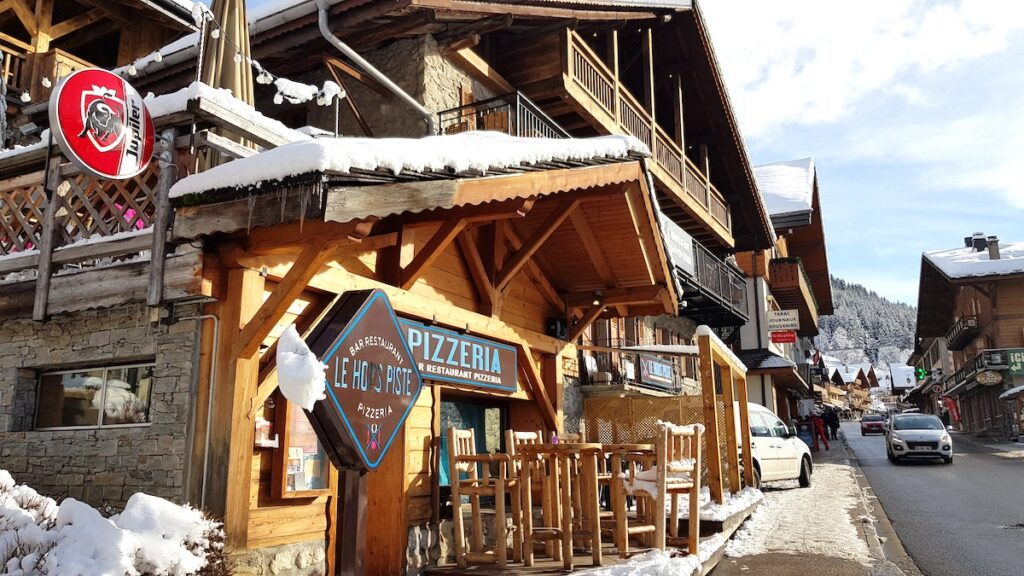 Wooden chalet restaurants in Chatel town France