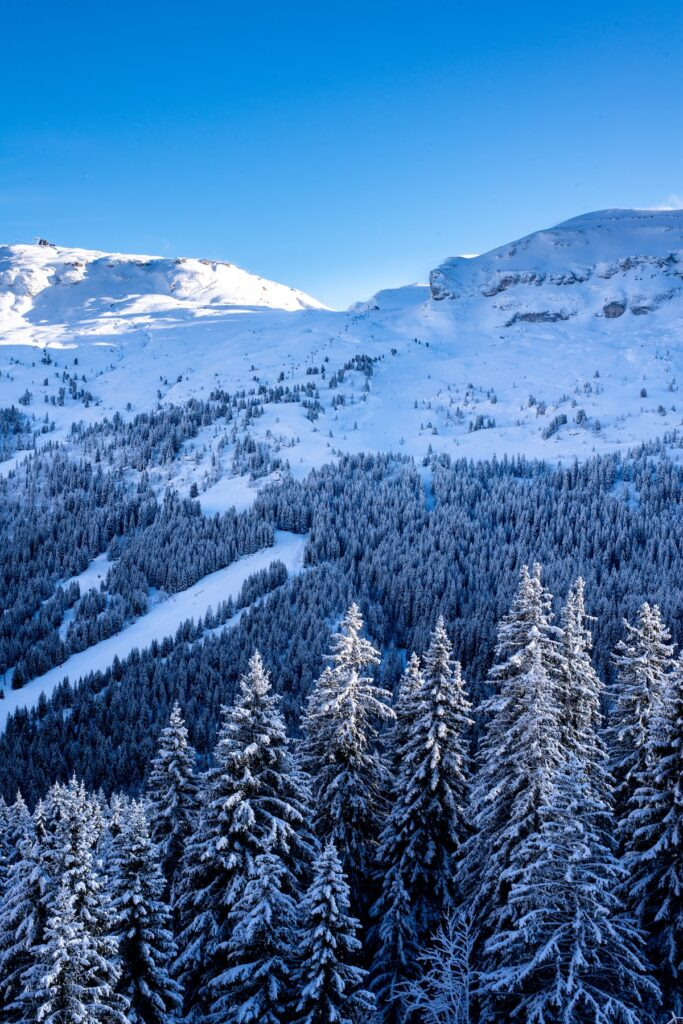 view of the ski slopes in Flaine in France
