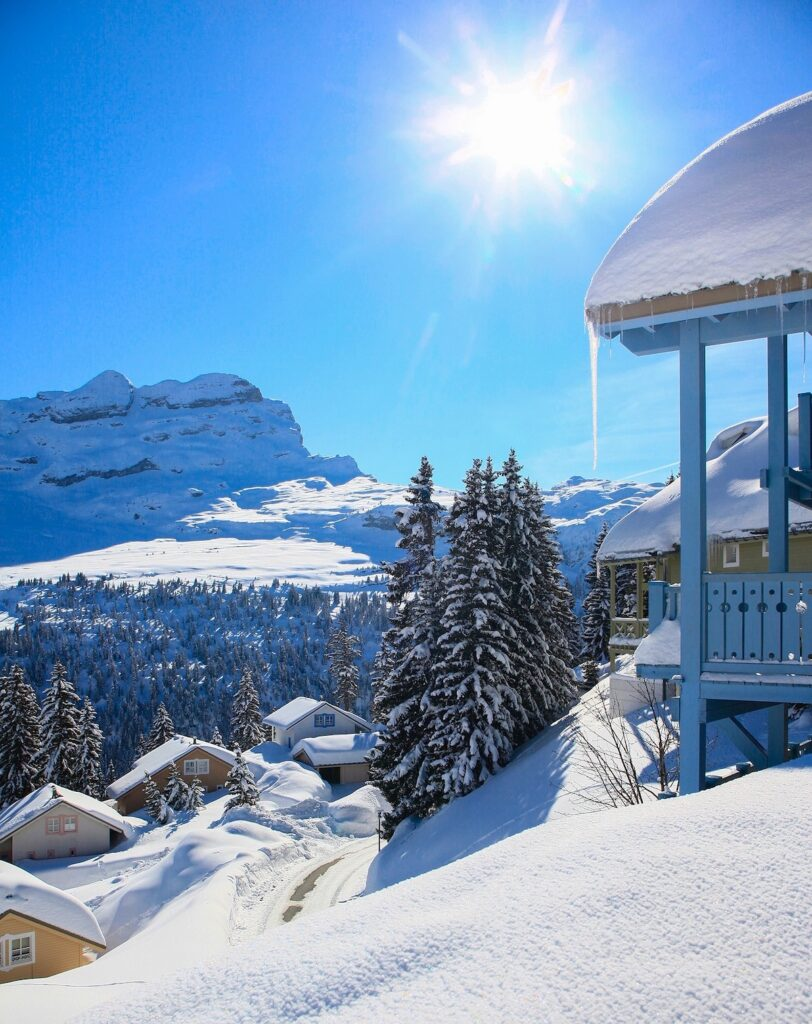 view of a house, trees and snowy mountain in the ski resort of Flaine in France