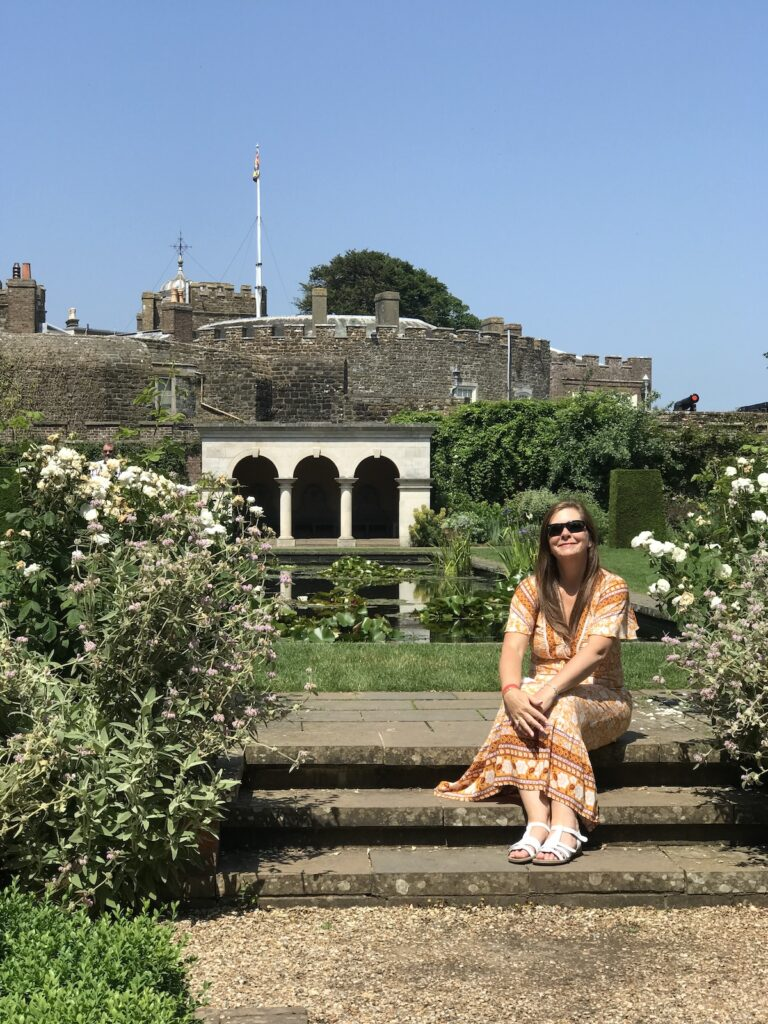 Angie sitting in the Queen Mothers Garden at Walmer Castle