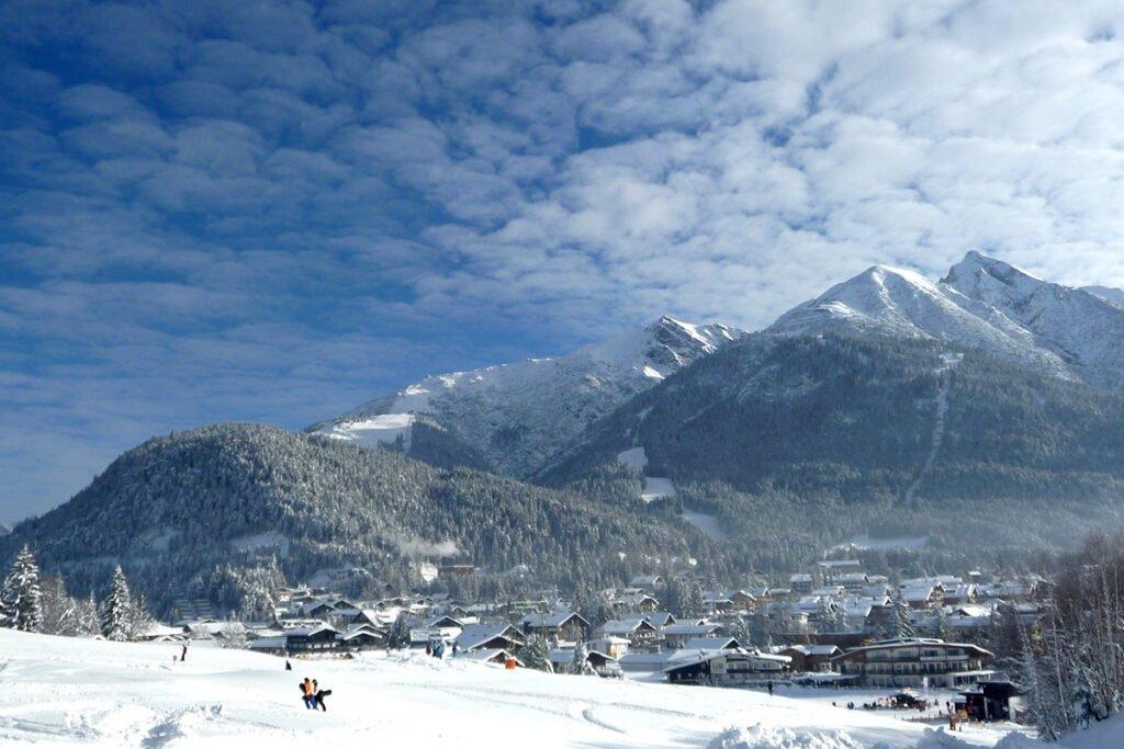 View of the ski slopes in Seefeld, Austria