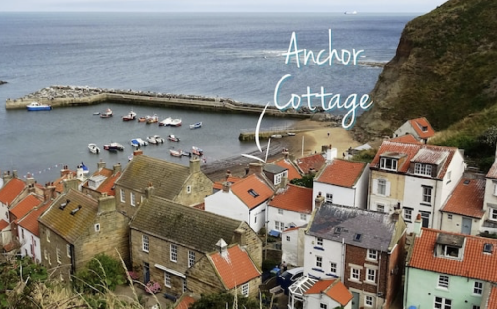 aerial view of Staithes harbour and position of Anchor Cottage