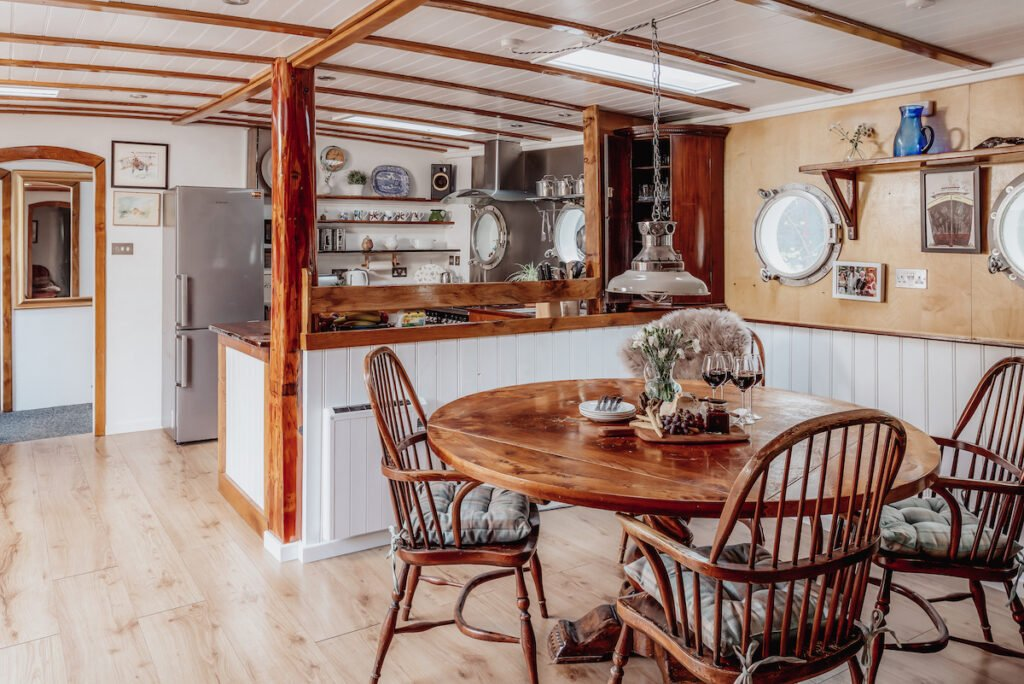 Living area in the unique barge hideaway