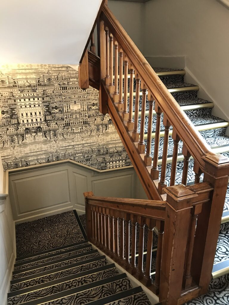 stairwell and feature wallpaper
