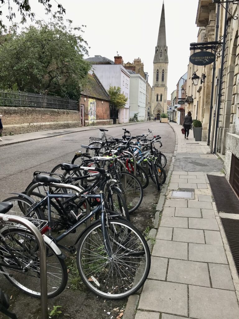 Lots of bikes lined up outside the hotel with St Michael's church in the distance