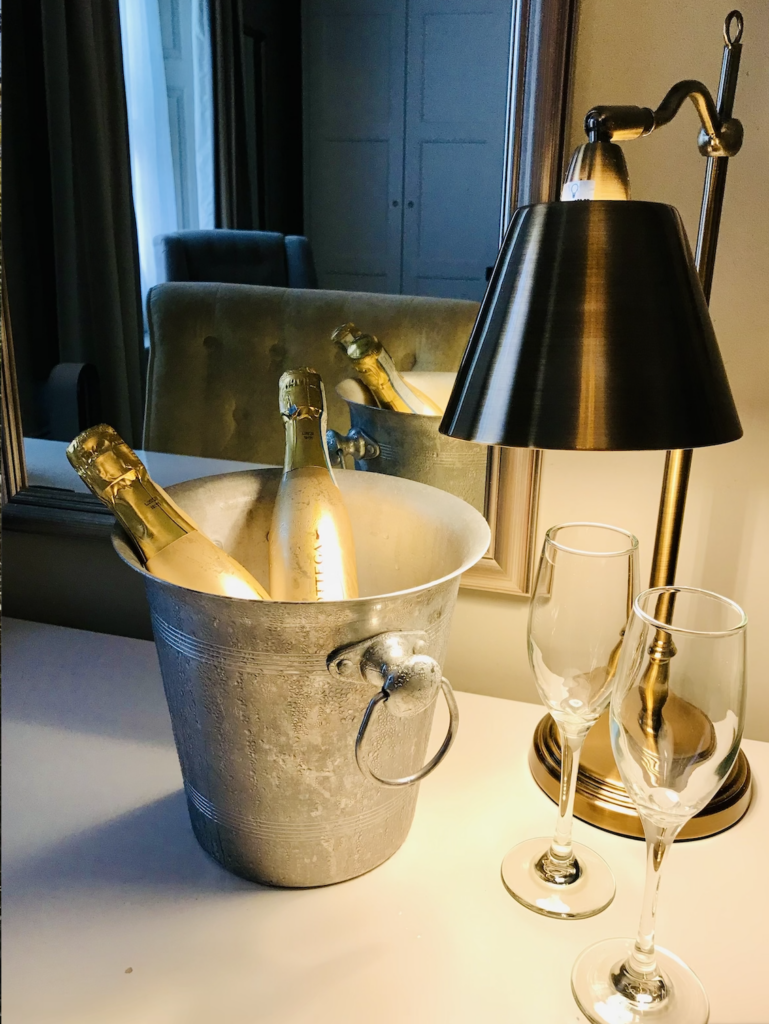Champagne bucket with bottles