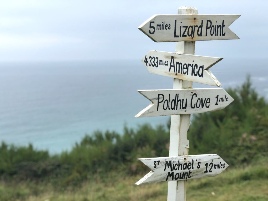 Sign post at Lizard Point