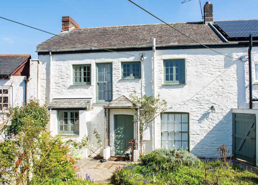 Whitewashed stone house