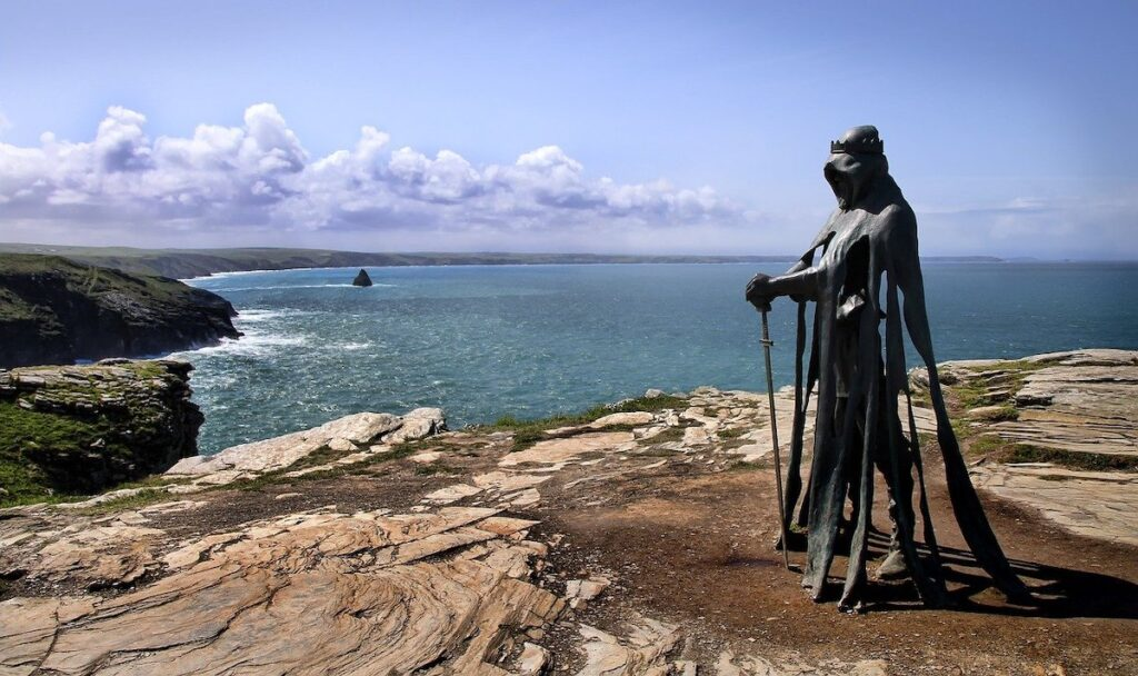 Metal sculpture of King Arthur on the clifftop in Tintagel