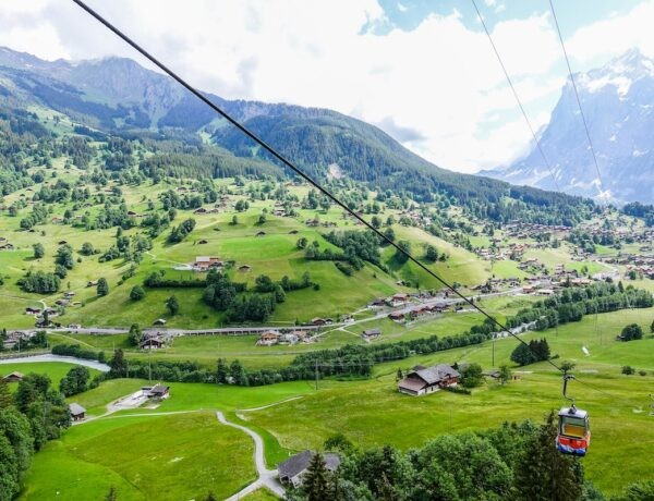 Aerial view of Interlaken with a cable car coming up the mountain